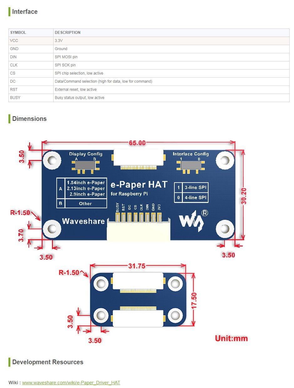 Waveshare Universal E Paper Driver Hat Supports Various Wiringpi Spi Python Example Raw Panels Raspberry Pi Connectivity Computers Accessories