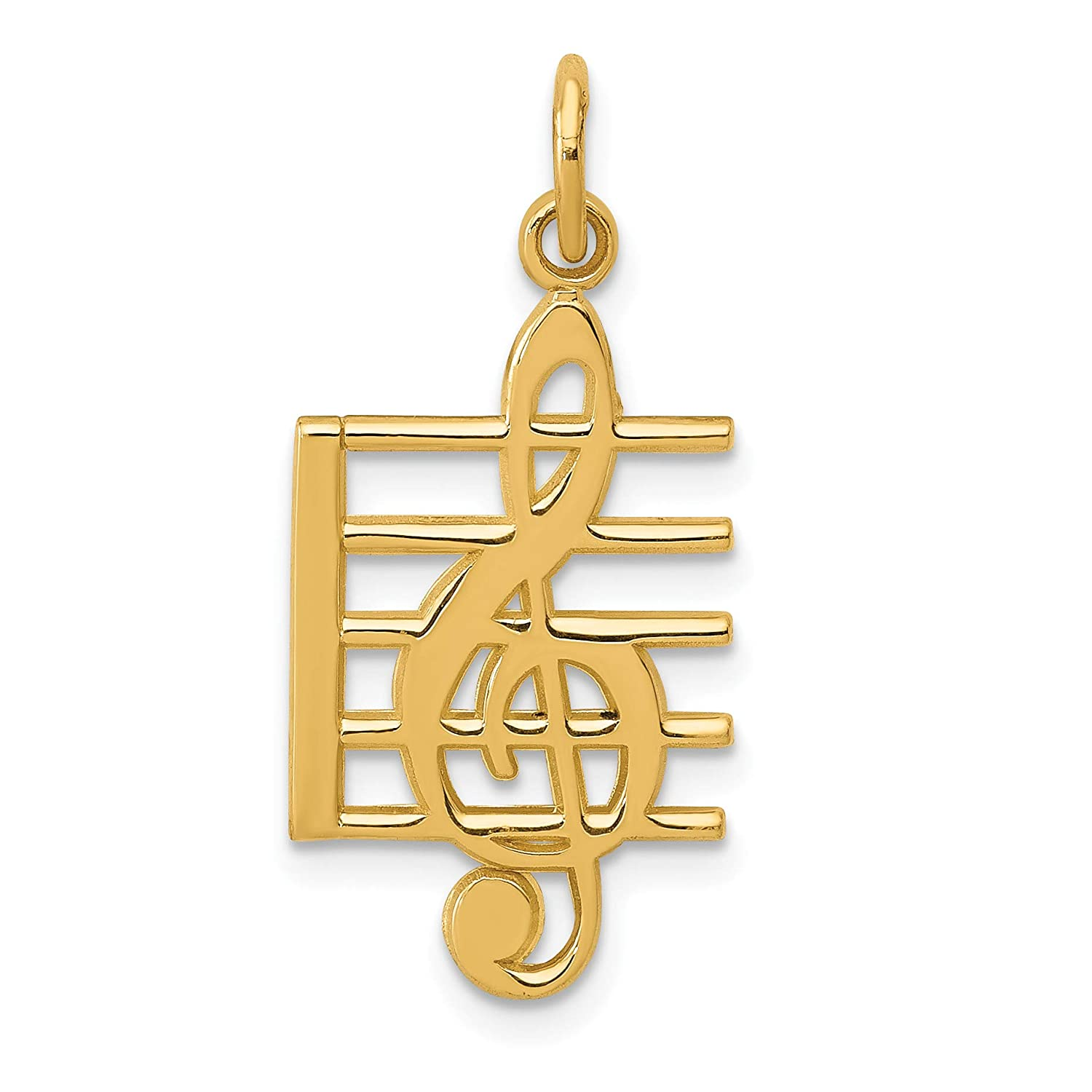 14k Yellow Gold Treble Clef Symbol On Music Scale Charm 25x12mm