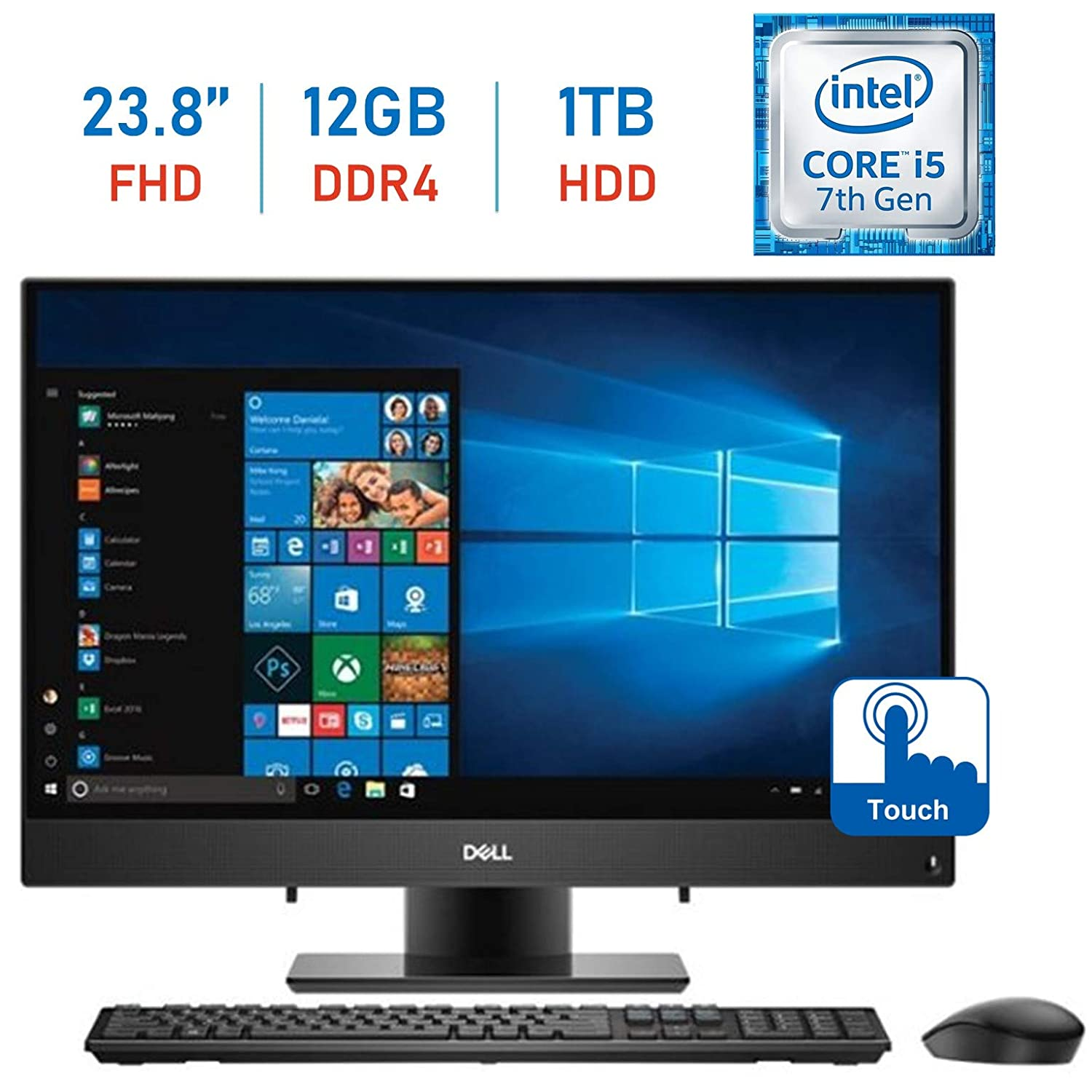 Dell Inspiron 23.8-inch FHD Touchscreen All-in-One Desktop PC, Intel Core i5-7200U GHz, 12GB RAM + 16GB Intel Optane Memory, 1TB HDD, Webcam, HDMI, Bluetooth, Wireless Keyboard & Mouse, Windows 10