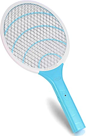Electric Fly Swatter Bug Zapper Racket, 3000volt Mosquito Fly Gnat Zapper Pest Control for Home Indoor Outdoor (Blue)