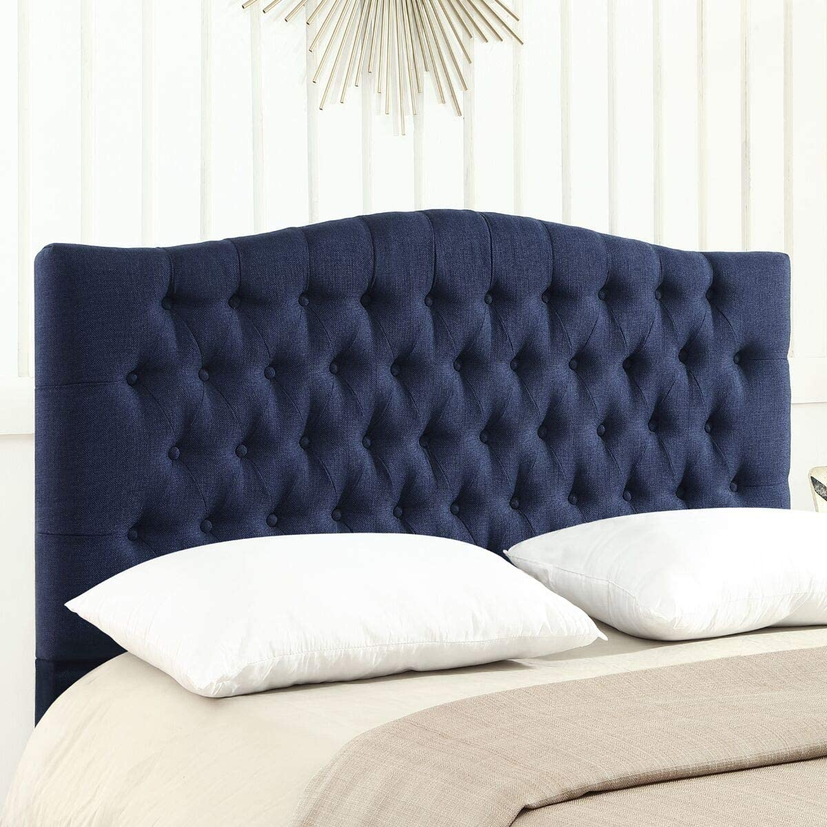 Amazon Com 24kf Upholstered Button Tufted Queen Headboard And Linen Fabric Queen Full Size Navy Blue Kitchen Dining