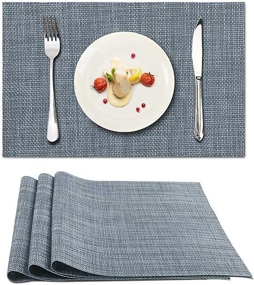 4er Set Tischset Platzset Tischmatte abwaschbar rutschfest PVC 30x45cm Grau