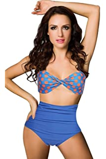 72a8621717 BOOLAVARD Women Vintage 50s Pinup Girl Rockabilly High Waist Retro Bikini  Swimsuit Set