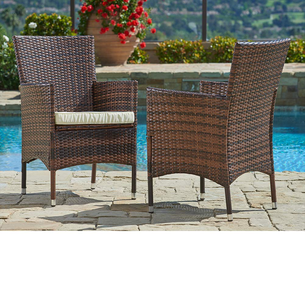 SUNCROWN Outdoor Furniture Wicker Chairs (2-Piece Set) Thick, Durable Cushions with Tables, Umbrella Stand or Sofa, Porch, Backyard, Pool or Garden Seating