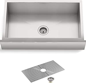 "STERLING by KOHLER 20243-PC-NA Ludington 34"" Under-Mount Single-Bowl, Apron-Front Single Basin Kitchen Sink with Accessories, Stainless Steel"