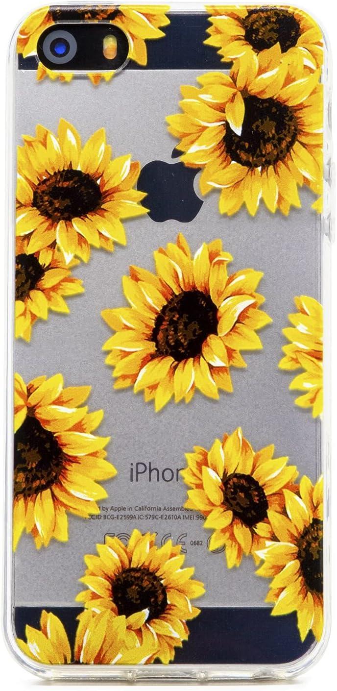 FAteam Case for iPhone 5 5S SE (2016), Sunflower Flower Pattern Scratchproof Shockproof Soft TPU Slim Cute Cover Compatible with iPhone 5 5s SE (Sunflower - Clear)