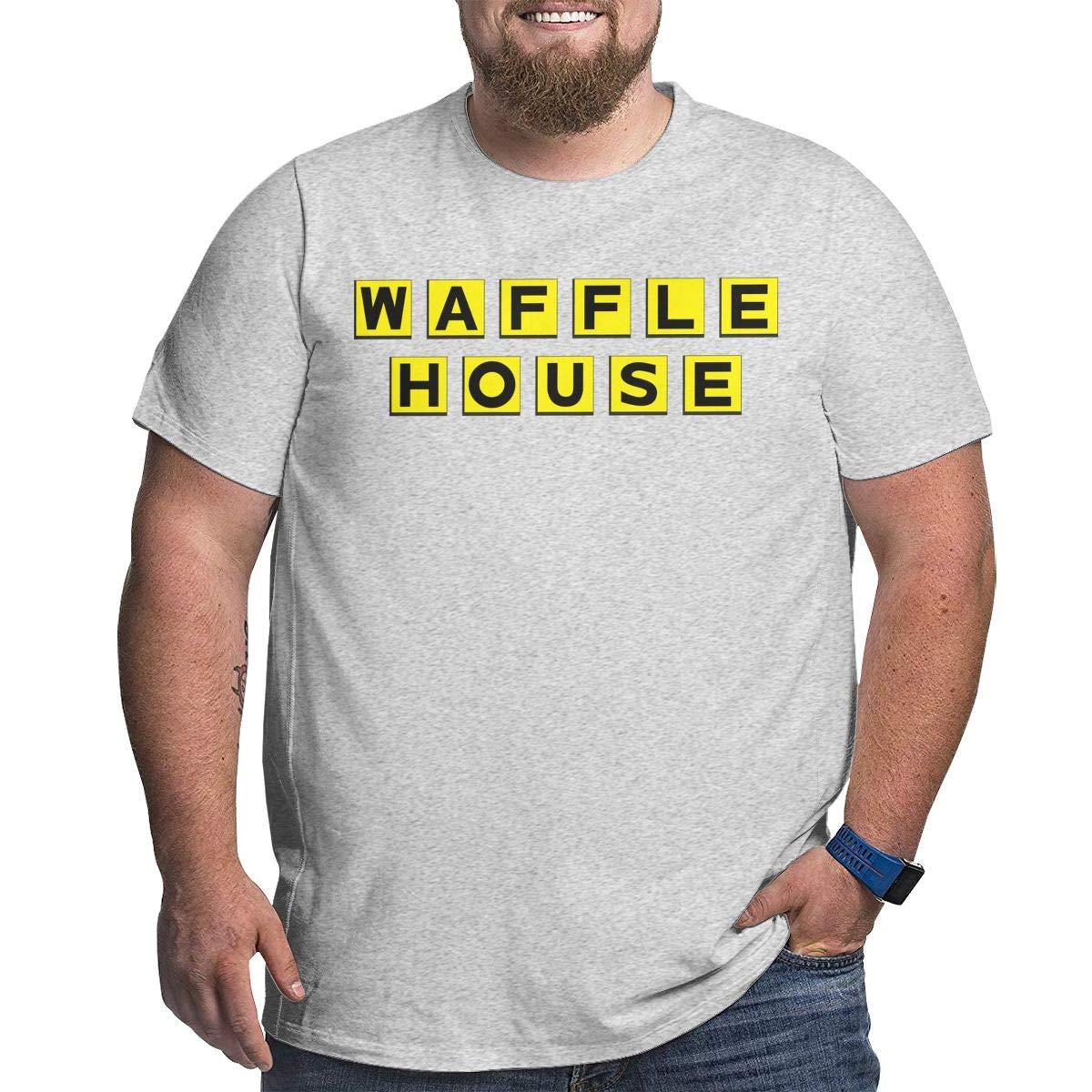 Fat Men's T Shirt Waffle House Logo Tee Shirts T-Shirt Short-Sleeve Round Neck Tshirt for Men Youth Boys Plus Size Gray 5XL by BKashy