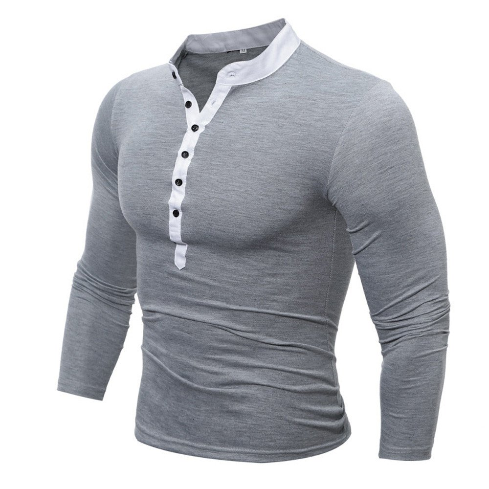 MODOQO Men's Long Sleeve Button V-Neck Solid T-Shirt Pullover Fitness Sweatshirt(Gray,M)