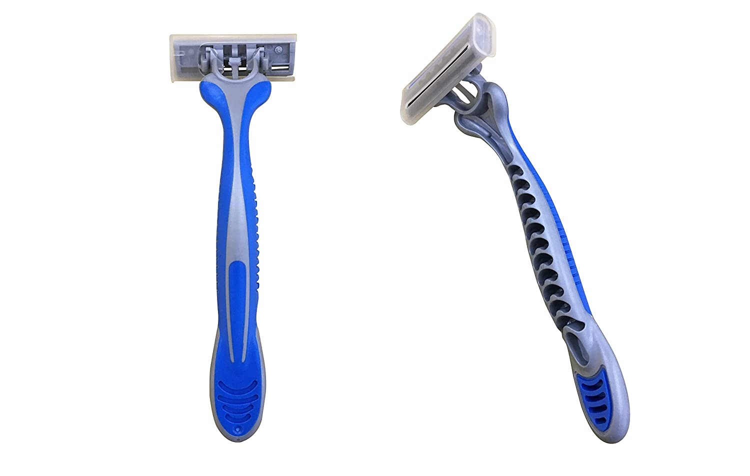 Hungstrong MAX Triple Blade Razors - Wholesale Box of 100 Disposable Safety Razors - 3 Stainless Steel Blades with Platinum/Teflon Coating - Pivoting Head - Vitamin E & Aloe Vera Lubricating Strip