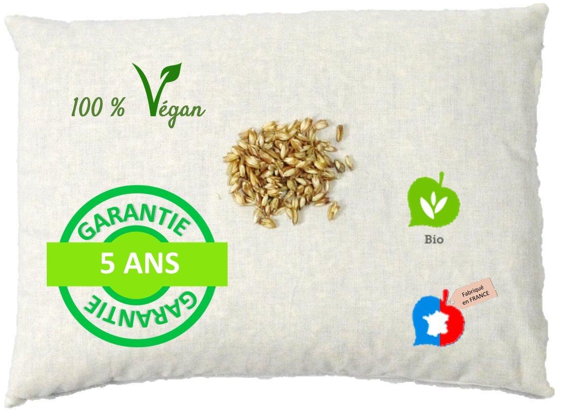 La Cocarde Verte Oreiller épeautre Bio - Oreiller Coton Bio et Balles Végétales Bio Anti Mal de Dos - Fabrication française Garantie 5 Ans - Écru Naturel product image