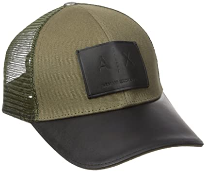 e80d8d74fb9 Amazon.com  Armani Exchange Men s Logo Patch Mesh Baseball Hat ...