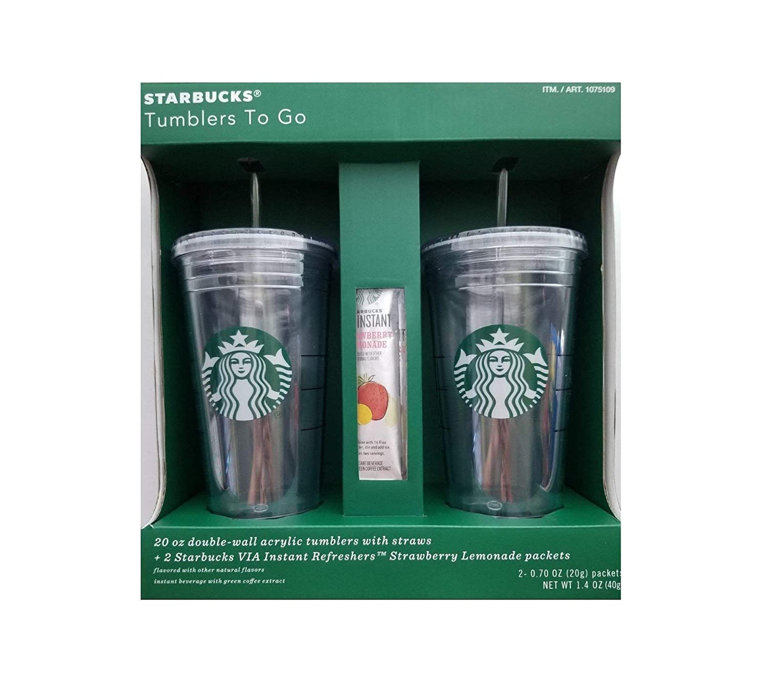 Costco Starbucks 2 Pc 20 Oz Double Wall Acrylic Tumblers With Straws