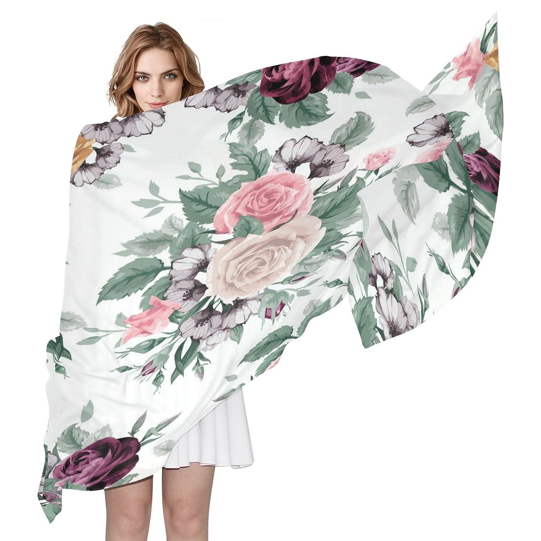 WDYSECRET Pretty Rose Silk Printing Scarves for Women 70.86x35.4(in)