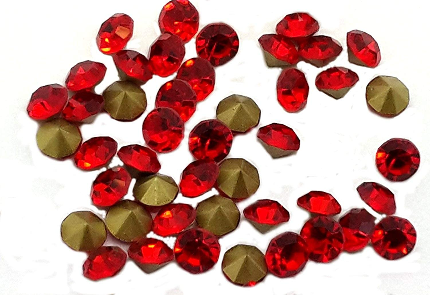 100 X (ss40 (8.4mm), Light Siam Bright Red), Foiled-back Crystals, EIMASS® Point-back Cut Diamond Chatons, Glass Crystals, Glass Rhinestones, Glass Gems, Pack of 100 Diamante