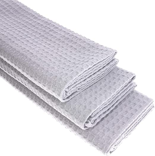 3 x – Trapo de algodón Suela de piqué en plata paños de cocina ...