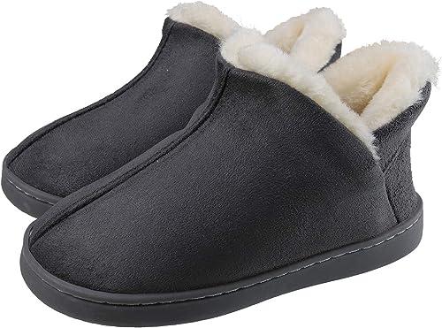 INMINPIN Chaussons en Maison pour Enfants Fille Garcon Peluche Pantoufles Su/ède B/éb/é Hiver Chaussures en Coton Semelle Souple antid/érapante