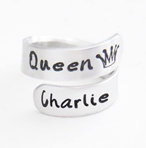 Amazon Com Queen Crown Ring Personalized Crown Name Ring