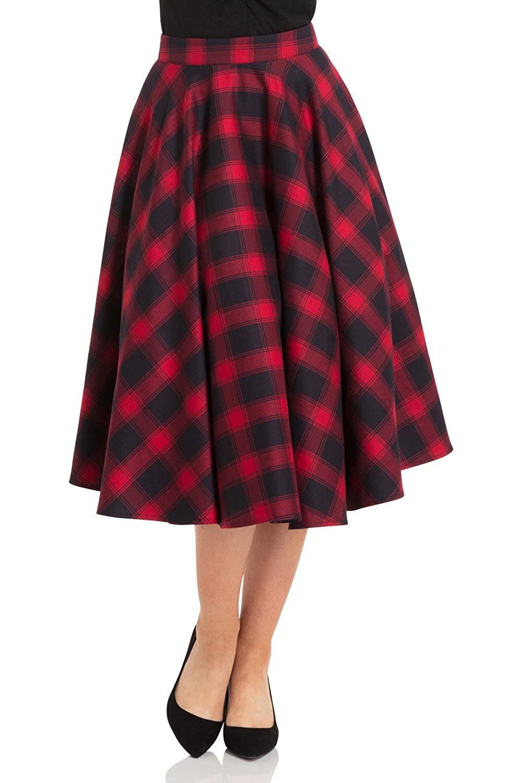 1950s Swing Skirt, Poodle Skirt, Pencil Skirts Voodoo Vixen May Checked Plaid Retro 50s Full Circle Swing Dance Skirt $49.99 AT vintagedancer.com