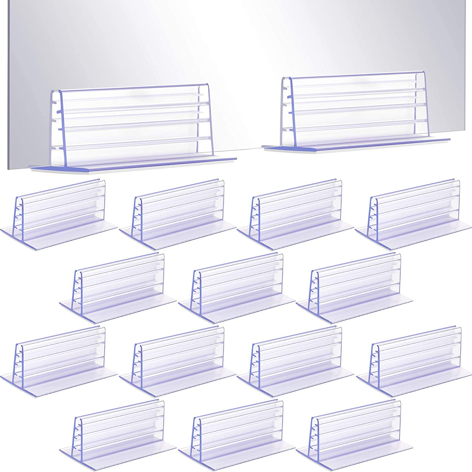 Self Adhesive Sign Holders Sneeze Guard Holders to Fix Acrylic Sheets and Panels, Acrylic Sign Holder, 3 x 1.65 x 1.26 Inches, L x W x H (16 Pieces)