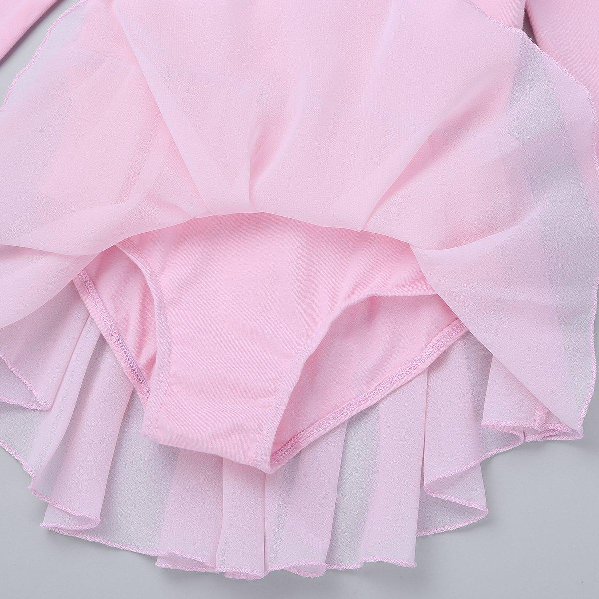 iEFiEL Kids Girls Long Sleeves Ballet Dress Leotard Tutu Skirt Ballerina Camisole Dance Wear Costumes
