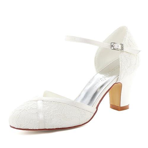 fd9c2cf37aae Elegantpark HC1802 Women Closed Toe High Block Heel Court Shoes Straps Buckle  Lace Wedding Bridal Shoes