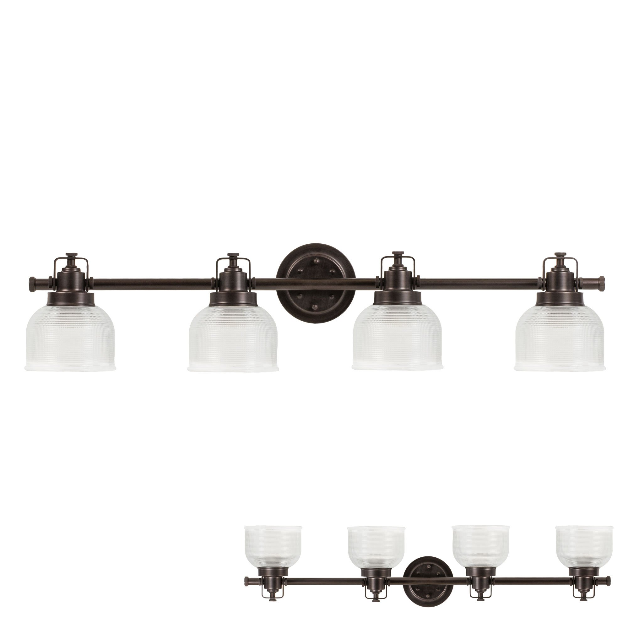 Oil Rubbed Bronze Vanity Light 4 Bulb Bath Wall Fixture Clear Double Prismatic Glass Globes by HowPlumb