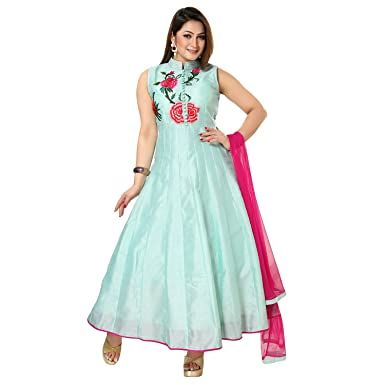 af255f7d13574 Indian Traditional Banglory Silk Sleeveless/Full sleeves Size-XXL Anarkali/Gown  Collar Neck