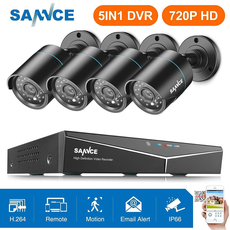 -sin HDD H.264 Onvif CCTV DVR TVI 8CH P2P y 4 c/ámaras 720P SANNCE Kit Sistema de vigilancia c/ámaras de seguridad