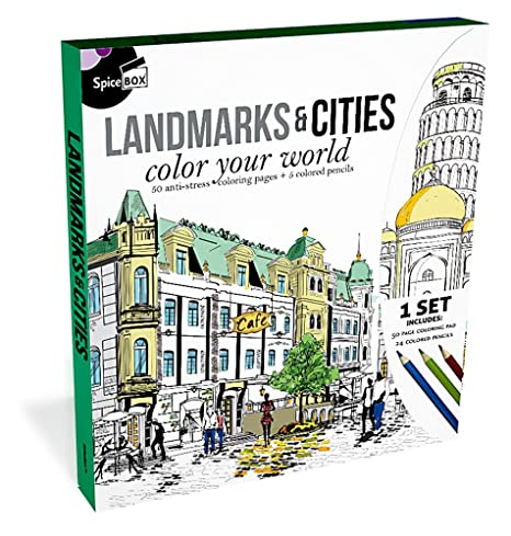 Amazon Com Spicebox Landmarks Cities Color Your World Coloring