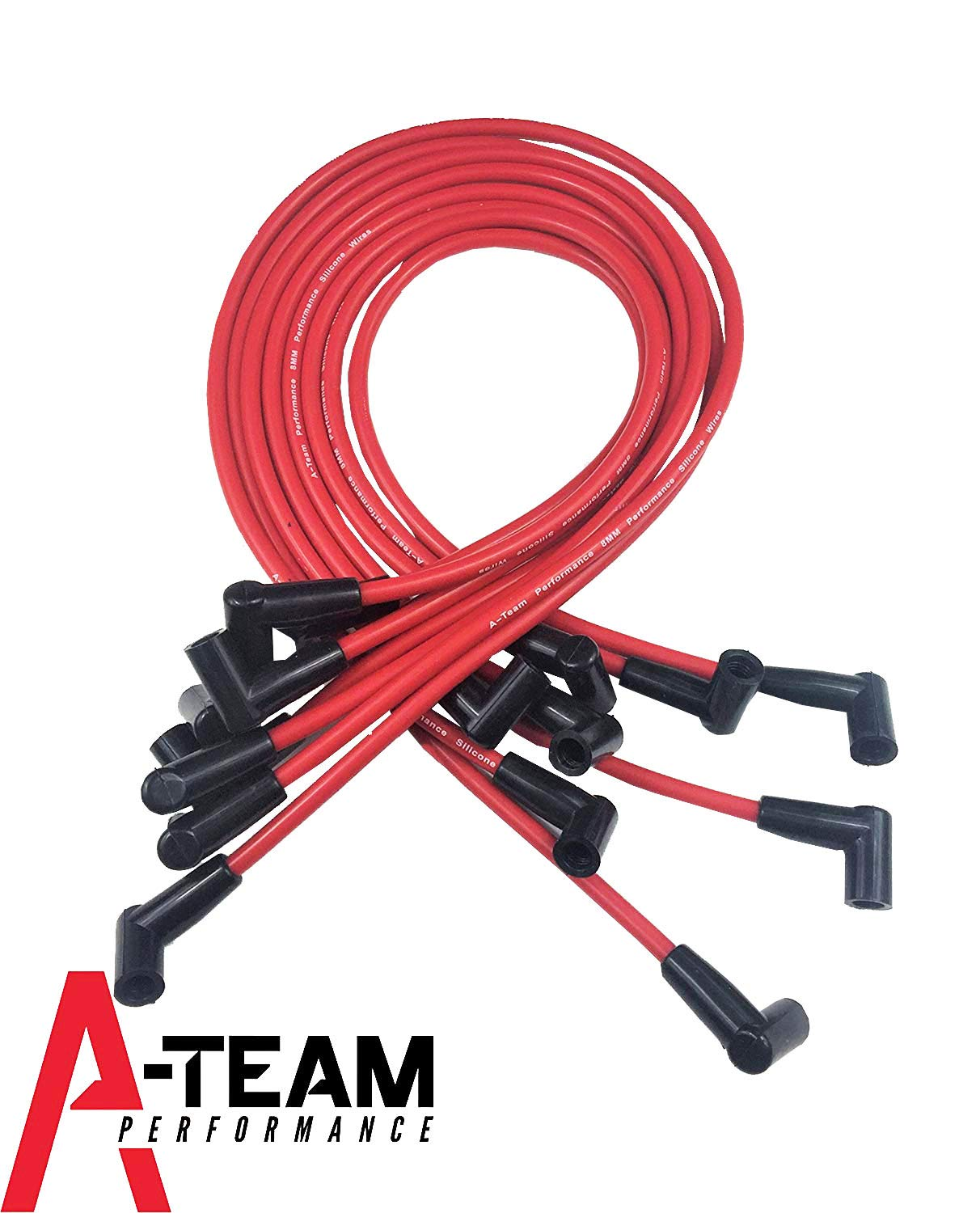 A-Team Performance 8.0mm Red Silicone Spark Plug Wires SBC Small Block Compatible With Chevy Chevrolet GMC Over the Valve Cover Wires 283 305 307 327 350 400