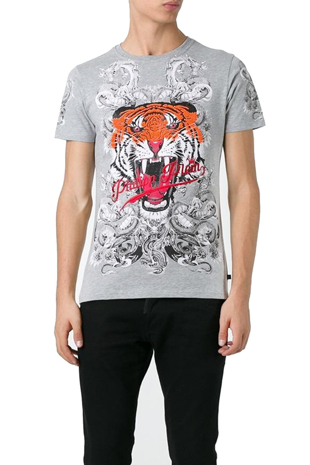 PHILIPP PLEIN - Men's T-shirt PHILIPP TIGER - gray, M