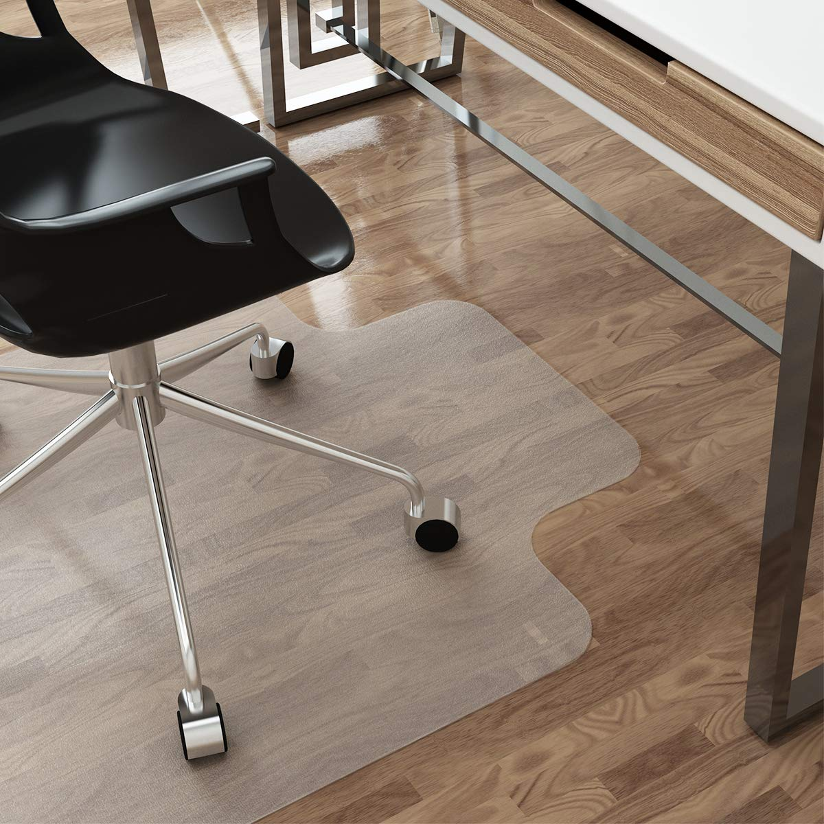 LANGRIA Large Office Desk Chair Mat with Lip for Hardwood Floors, 48'' x 36'' Clear Hard Floor Protector with Non-Studded Bottom, Eco-Friendly PVC Material BPA Free for Home and Office