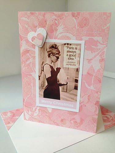 Christmas Greeting Cards Handmade.Amazon Com Audrey Hepburn Christmas Greetings Card Handmade