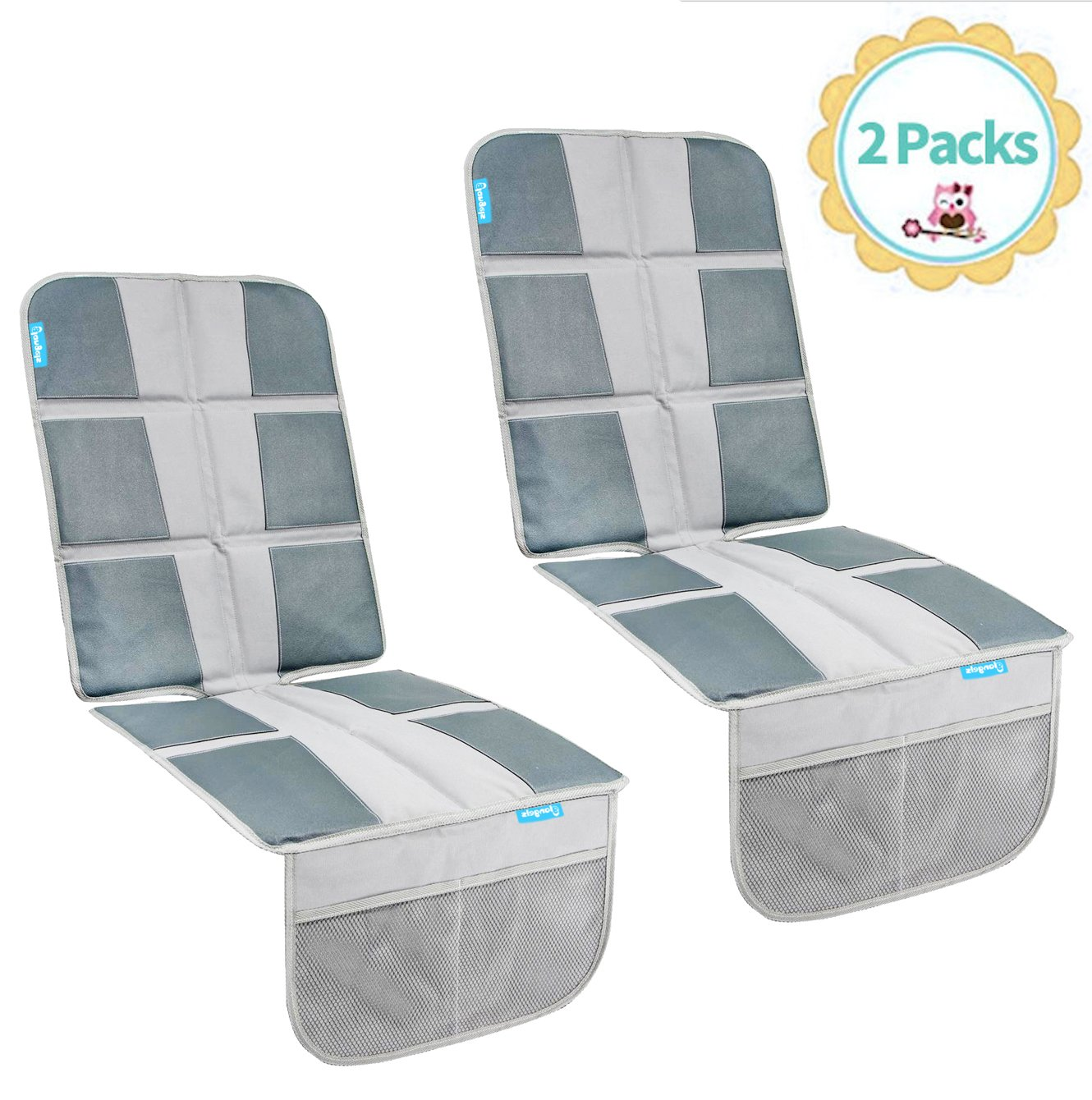 Child Car Seat Protector- Enhanced Padded Booster Seat Cover for Vehicles – Waterproof Seat Protectant for Baby or Toddler – Extra Large Storage Pocket – Prevents Dirt and Damage (Grey 2 PCs)) Glangels