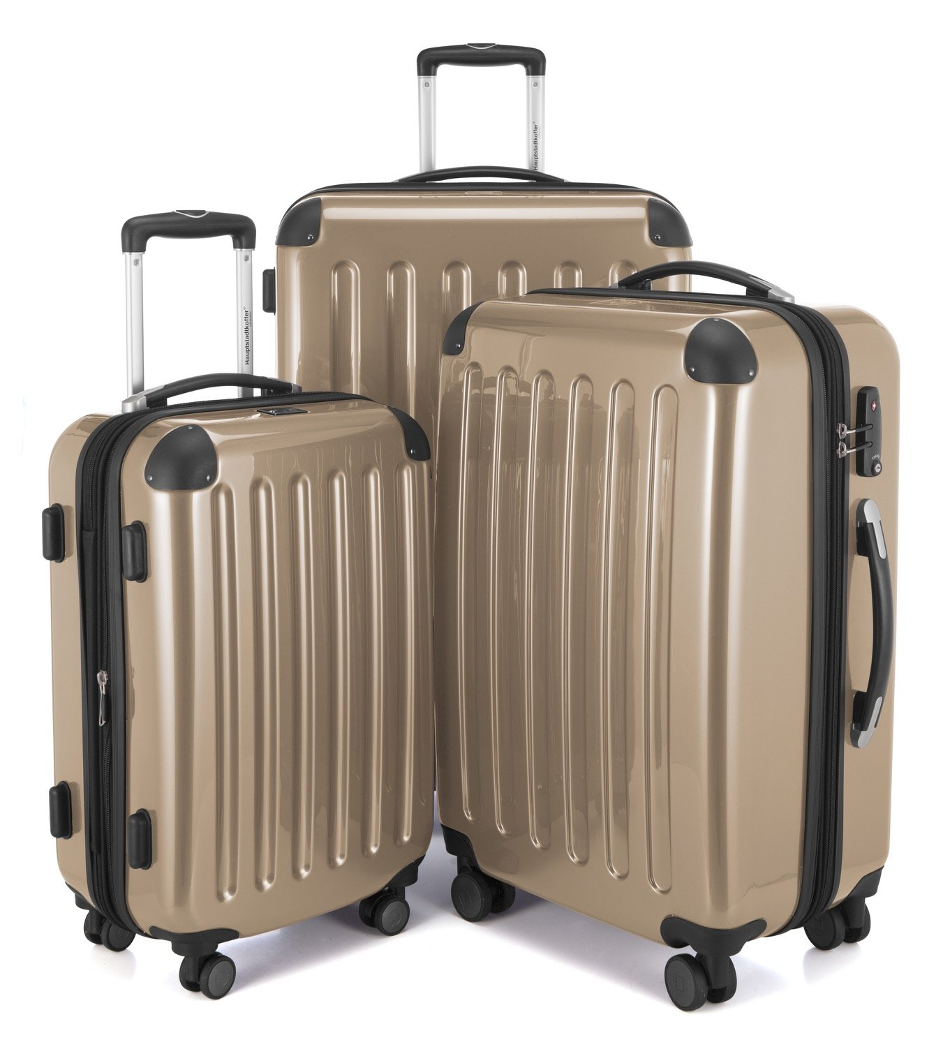 HAUPTSTADTKOFFER Luggages Sets Glossy Suitcase Sets Hardside Spinner Trolley Expandable (20', 24' & 28') TSA (Alex Champagne)
