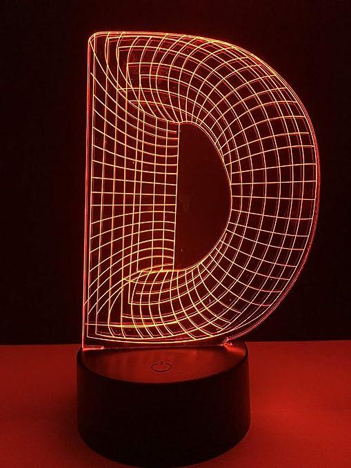 RQMQRL Único 3D Luz Nocturna Alfabeto Letra D 7 Gradiente De Color ...