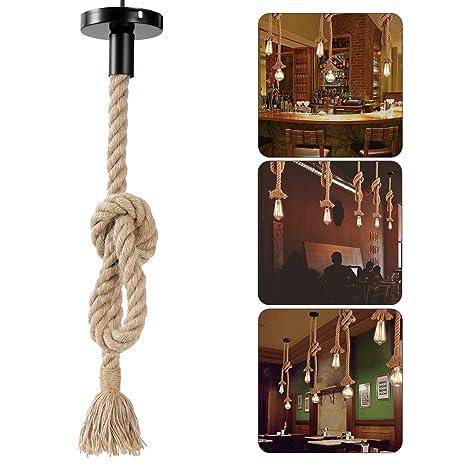LEDMOMO Lámpara de cuerda de cáñamo, colgante colgante de época Lámpara de techo Lámpara de estilo industrial de estilo rural Restaurante Bar ...