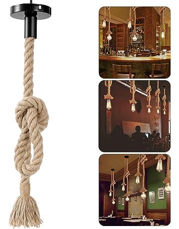 LEDMOMO Lámpara de cuerda de cáñamo, colgante colgante de época Lámpara de techo Lámpara de