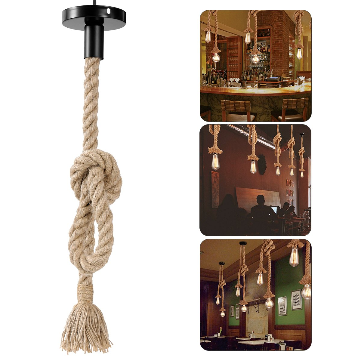 LEDMOMO 1M Vintage Cuerda de cáñamo gruesa sola cabeza colgante de cáñamo lámpara de cuerda luces
