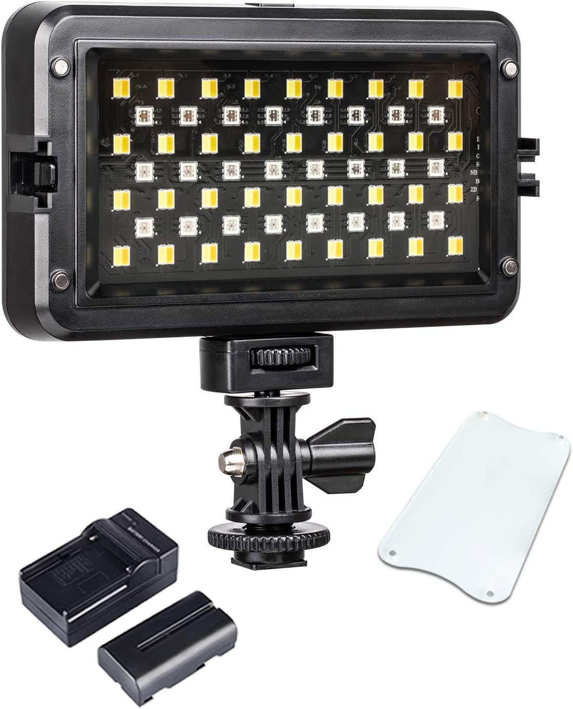 Led Video Light for Camera,Dimmable RB10 RGB Camera//Camcorder Video Light with Battery and Charger 2500-8500K CRI/≥95 Multi-Color Lighting Effect Adjustable