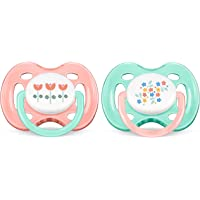 Philips Avent SCF172/02 - Pack de 2 chupetes ventilados decorados, para niña de 0-6 meses, diseño de flores, color rosa/verde