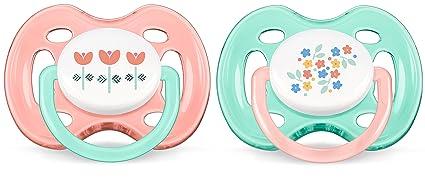 Philips Avent SCF172/02 - Pack de 2 chupetes ventilados decorados, para niña de 0-6 meses, diseño de flores