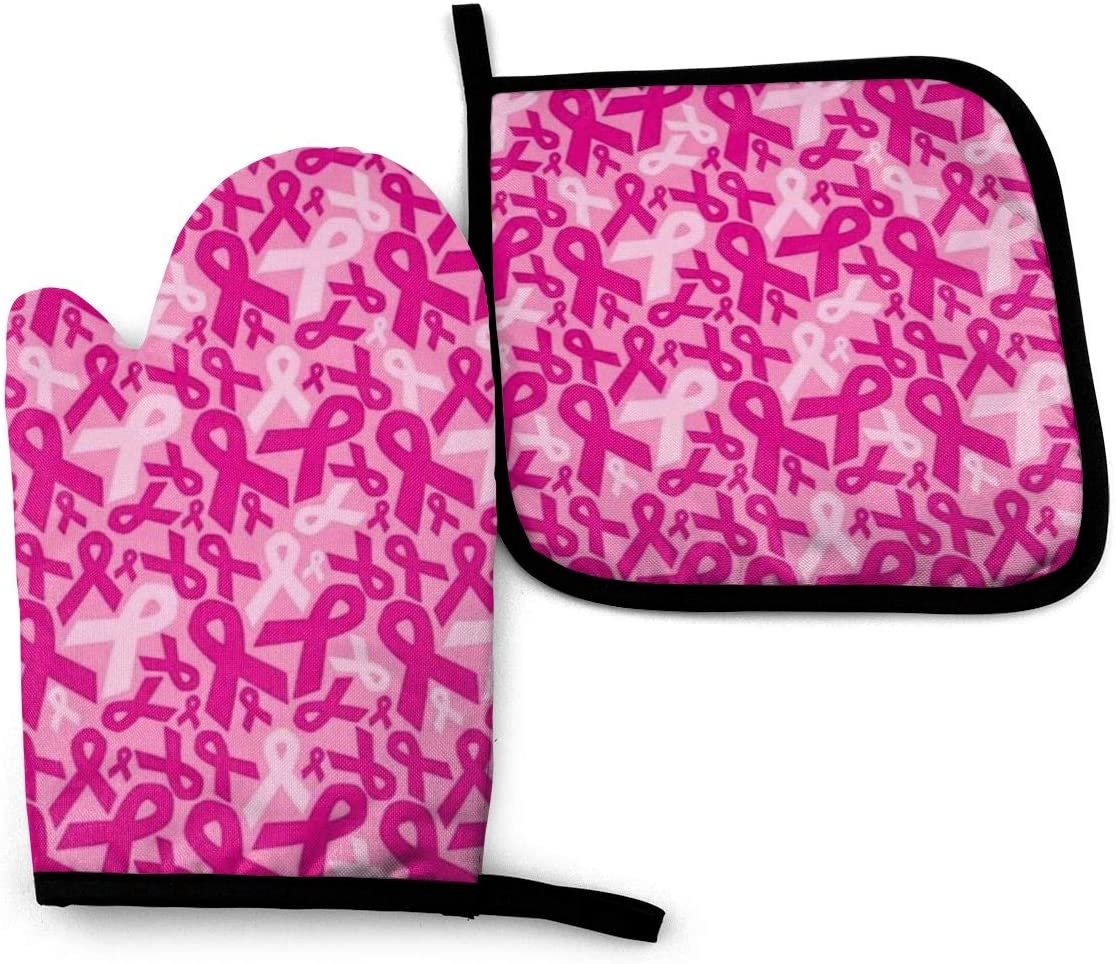 Clip Art Oven Mitts and Potholder Set -Heat Resistant Oven Gloves to Protect Hands with Non-Slip Grip Hanging Loop for Baking Kitchen Grilling