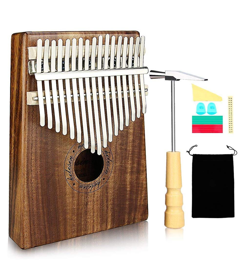 Kalimba, Helesin 17 key Thumb Piano Solid Finger Piano with Locking system, Instruction and Tune Hammer Marímbula Mbira Wood Natural Keyboard Marimba(KOA wood)