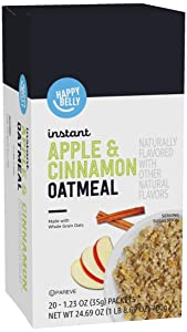Amazon Brand - Happy Belly Instant Oatmeal, Apple and Cinnamon, 20 Packets