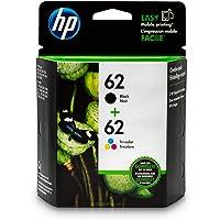 HP 62 Black & Tri-Color Original Ink Cartridges, 2 Pack For HP ENVY 5540, 5643, 5542, 5544, 5545, 5640, 5642, 5660, 5665, 7640, 7645, 8000, HP Officejet 5740, 5741, 5742, 5743, 5744, 5745, 5746, 8040 - N9H64FN#140 (Package May Vary)