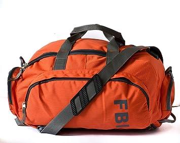 0034d3cb64592 Fbi 1098Cms Softsided Polyester Orange Gym Duffle Bag  Amazon.in ...