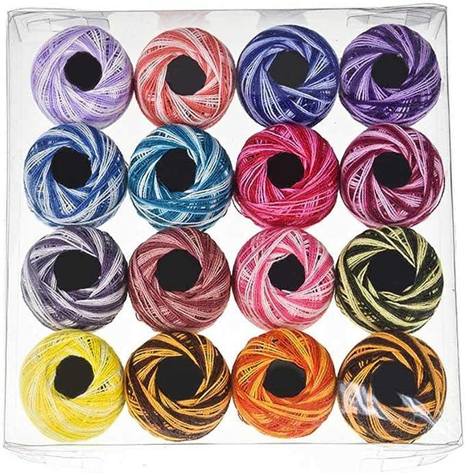 Pawaca 16 Colores Hilo de algodón Bolas, Ganchillo Hilo para ...