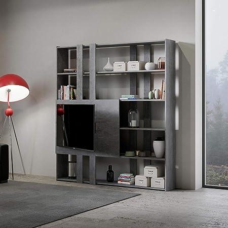 Itamoby - Estantería y porta TV de pared de madera Kato H con 6 estantes, 5 compartimentos, hormigón, decoración moderna para oficina, salón, cocina, 178 x 34 x 204 cm, fabricada en Italia: Amazon.es: Hogar