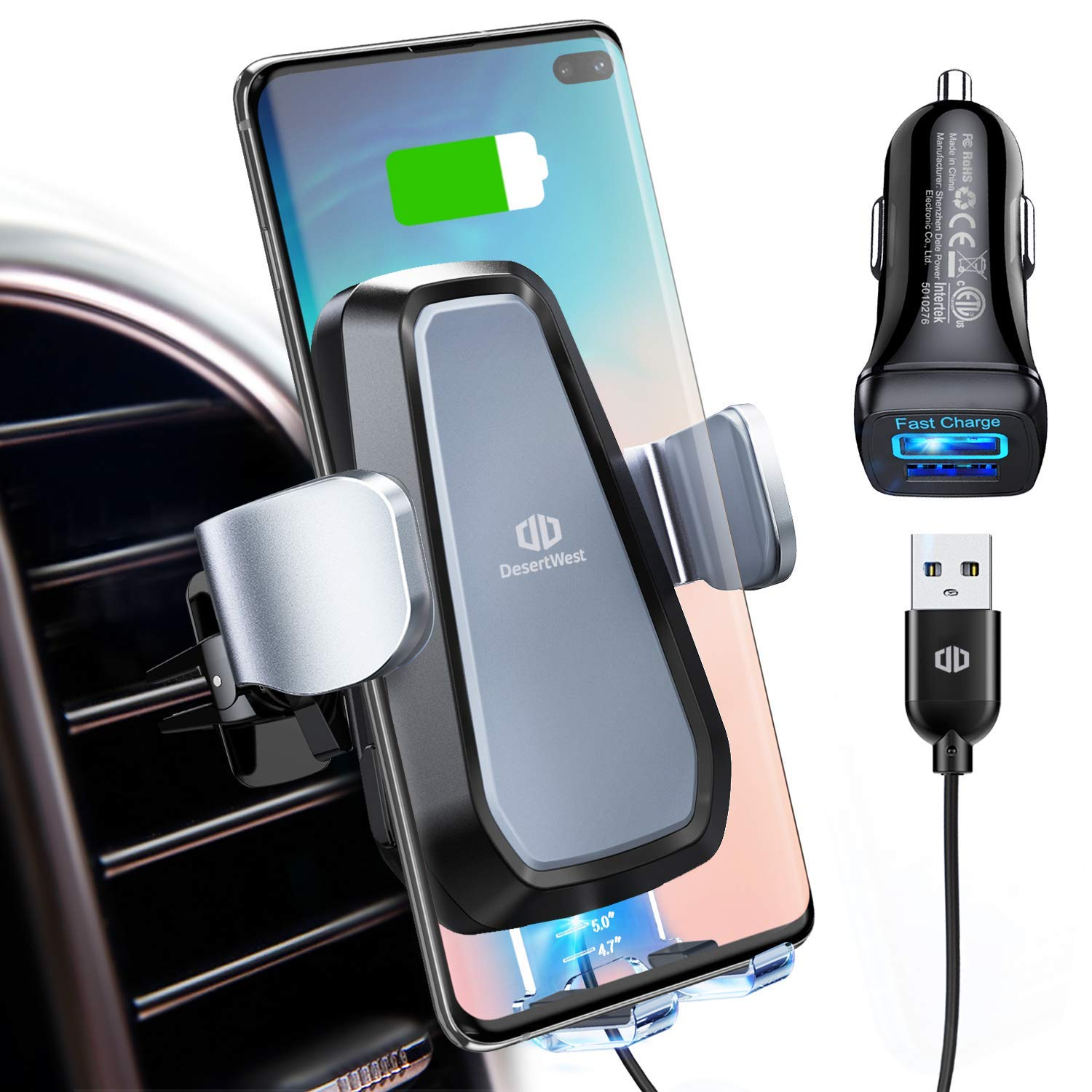 DesertWest Wireless Car Charger Mount, Air Vent Phone Holder 10W Qi Fast Charging Compatible with iPhone Xs Max/XR/X /8 Plus /8, Galaxy S10/S10+/S10e/S9+/S9, and Other Qi-Enabled Phones
